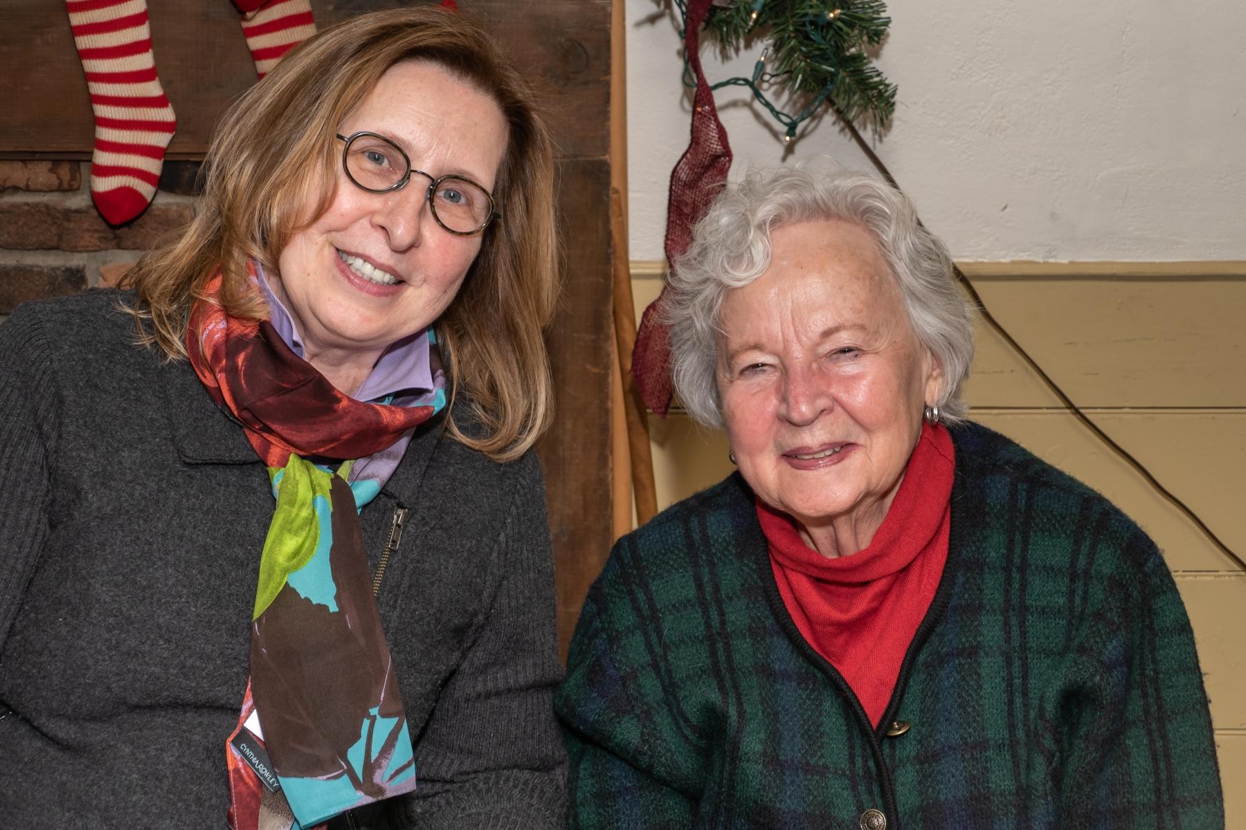 Leanie Bailey, Barbar Maise, AAUW Xmas Party, Cady Inn, Mill Race Village, Northville, MI, Dec-2018