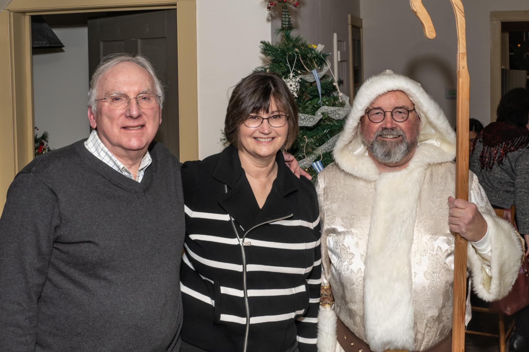 Gary & Ruth Rickard, Robert Sochacki, AAUW Xmas Party, Cady Inn, Mill Race Village, Northville, MI, Dec-2018